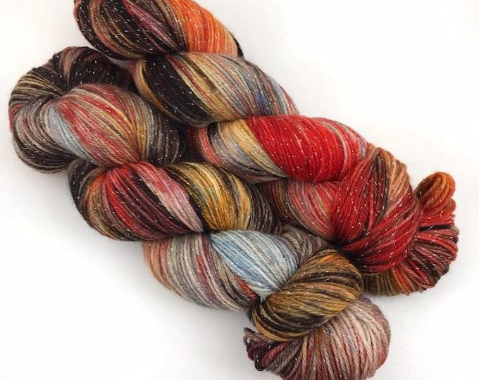 Floral Nights - Teagan Sparkle Sock - Superwash Merino Nylon Lurex - Ready to Ship Hand Dyed Yarn