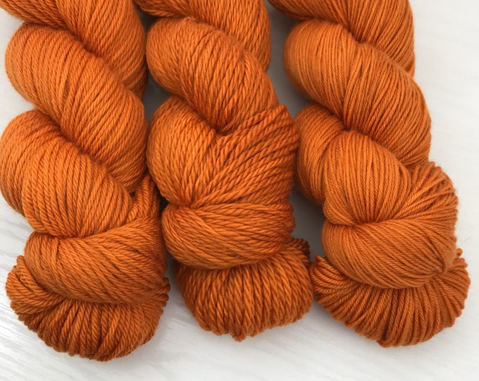 Ready to Ship Hand Dyed Yarn - Pumpkin Orange - 100% Superwash Merino Wool