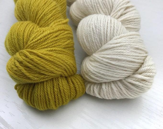 Golden Shadow Colorwork Kit - Hand Dyed Yarn - Nonsuperwash DK Weight - 200g total