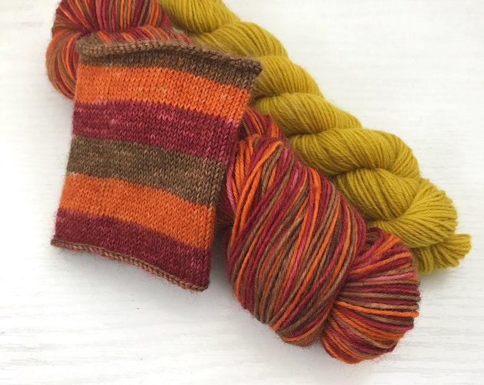 Pre Order - Hand Dyed Self-Striping Sock Yarn - Harvest - 8 Fingering Weight base options