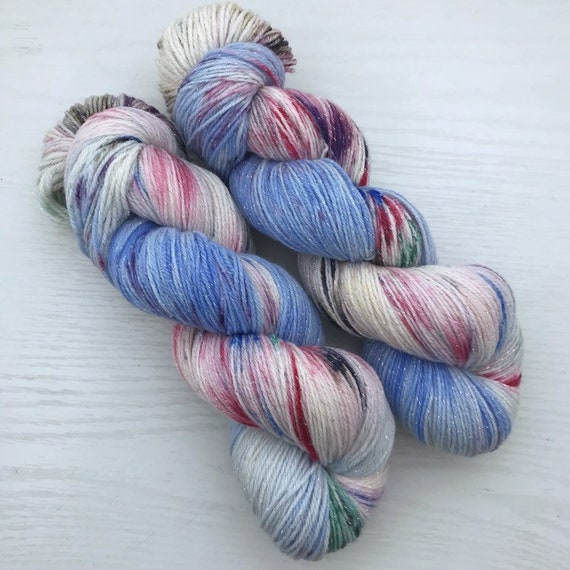 Paint Box - Teagan Sparkle Sock - Superwash Merino Nylon Lurex - Ready to Ship Hand Dyed Yarn