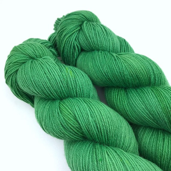 Putting Green - Teagan Plush Sock - Superwash Merino Nylon - Ready to Ship Hand Dyed Yarn