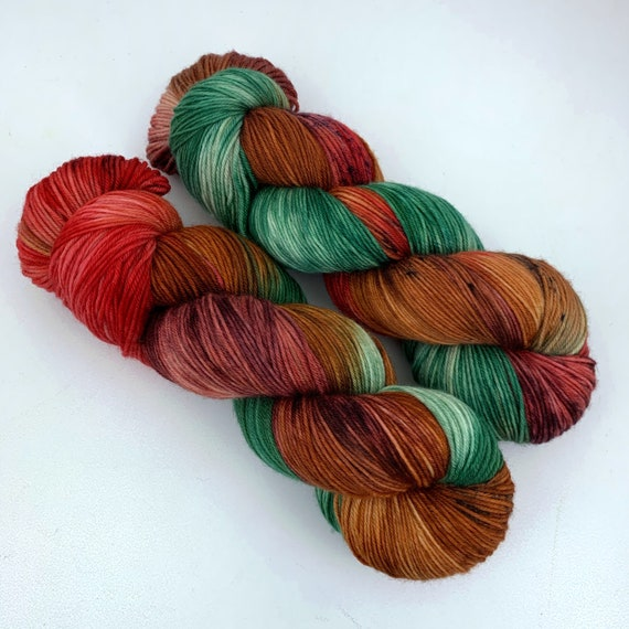 Ratatouille- Teagan Plush Sock - Superwash Merino Nylon - Ready to Ship Hand Dyed Yarn