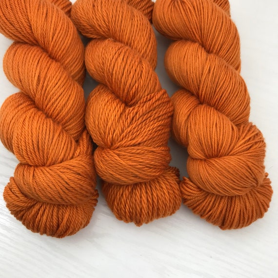 Pumpkin Orange - Hand Dyed Yarn - 100% Superwash Merino Wool - Fingering and DK