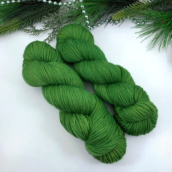 Moss - Teagan Plush Sock - Superwash Merino Nylon - Ready to Ship Hand Dyed Yarn