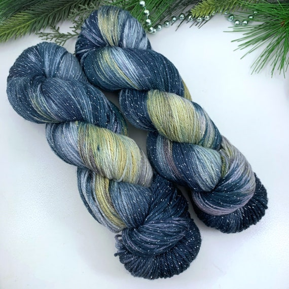 Skyline - Teagan Sparkle Sock - Superwash Merino Nylon Lurex - Ready to Ship Hand Dyed Yarn