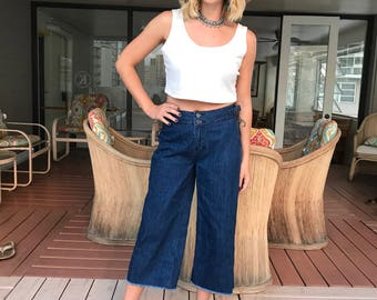 Wide Flare Leg / High Waisted / Fray Bottom Jeans
