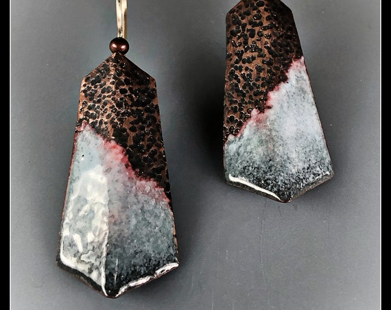 "Sterling and enamelled copper ""Mountain"" earrings"