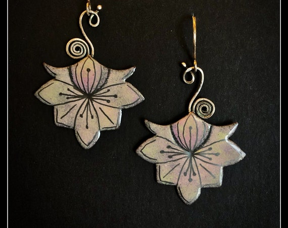Enameled copper and silver stylised flowers