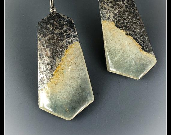 """Fine silver, sterling and enamel """"Mountain"""" earrings"""