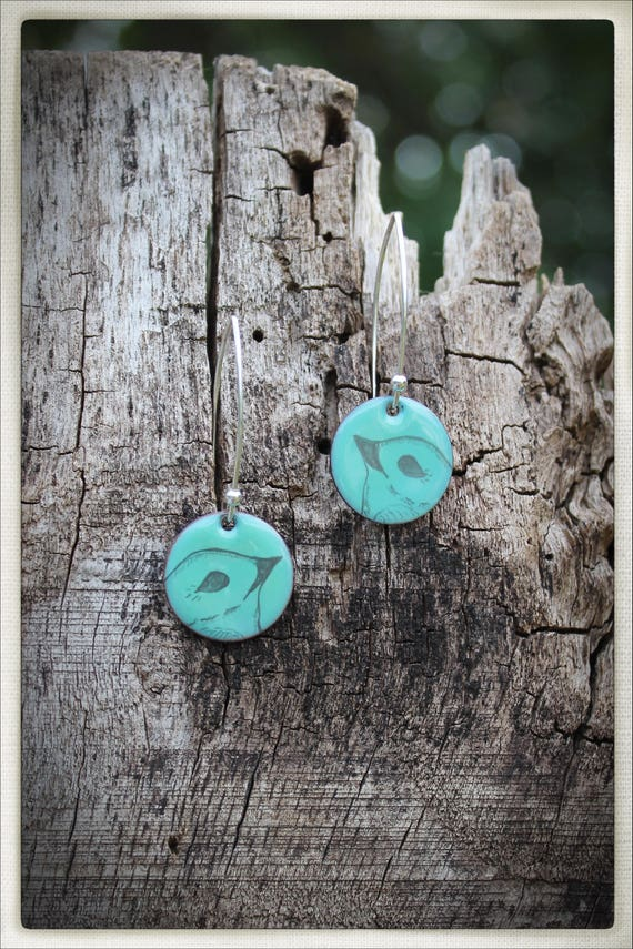 Hand drawn sparrow face on aqua enamelled disc earrings