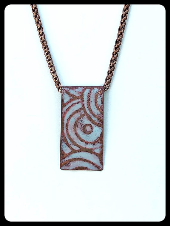 Matte finished pale blue enamel and copper necklace
