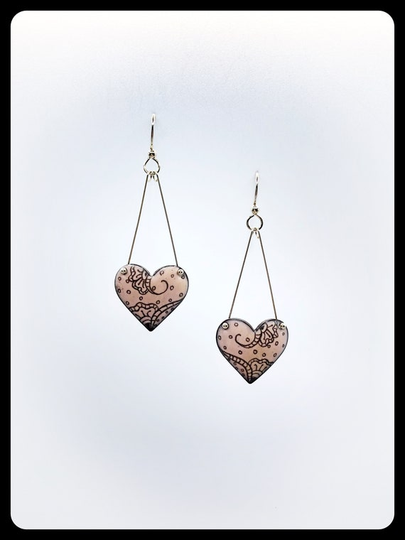 Pink Enameled Hearts