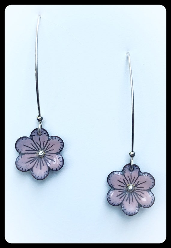 Pink Enameled Flower Earrings
