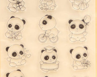 Baby Pandas Clear Rubber Stamp Set w/ cake, panda, graduation, birthday party, christmas, hat, gift, present