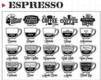 Espresso Clear Rubber Stamp Set w/ coffee, macchiato, americano, mocha, cappuccino, latte, transparent