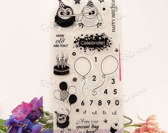 Birthday Owl Stamp Set w/ balloon, number, happy, old, celebrate, cake, hope, cupcake, hoot, special day, transparent, silicone