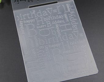 Happy Birthday Plastic Embossing Folder for Scrapbooking, Cardmaking, rubber stamping, paper craft, collage, sizzix, big shot, spellbinder