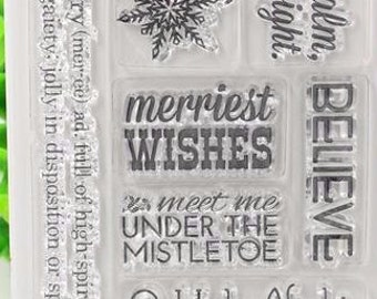 Merriest Christmas Clear Rubber Stamp Set w/ deer, wish, bright, cheer, sing, jolly, snow, flake, snowflake, transparent