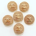 SALE -Set x 6 (20mm) or ( 25mm) Estate Sale Gold Rope Style Buttons