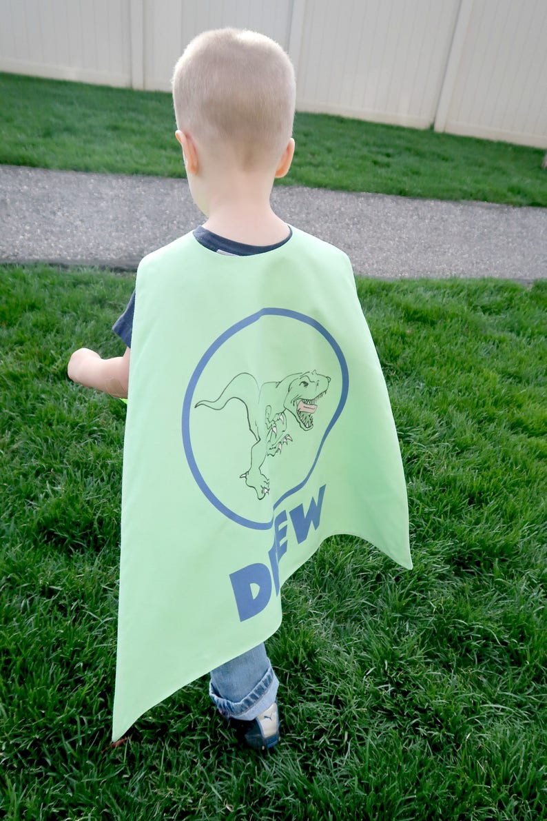 Green and Blue Dinosaur Personalized Superhero Cape  Boys Birthday  Gift  for Kids  Superhero party cape  T REX  Toddler cape