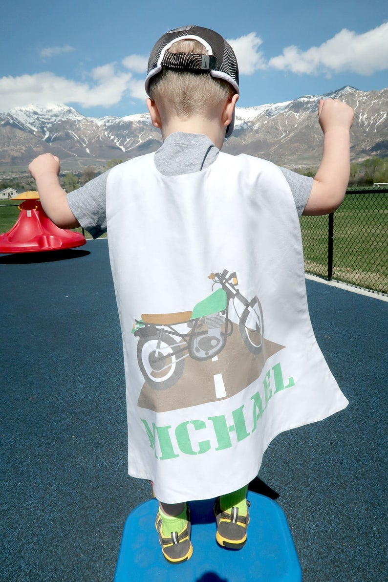 Motorcycle Personalized Superhero Cape - Boys Birthday - Gift for Kids -  Superhero party cape - Transportation - Pretend Play