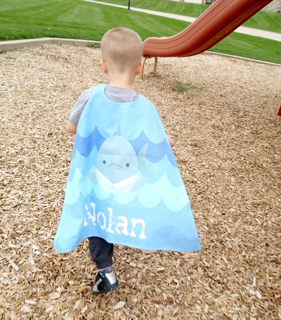 Blue Shark Personalized Superhero Cape - Boys Birthday - Gift for Kids -  Superhero party cape - Toddler- Ocean - Pretend Play