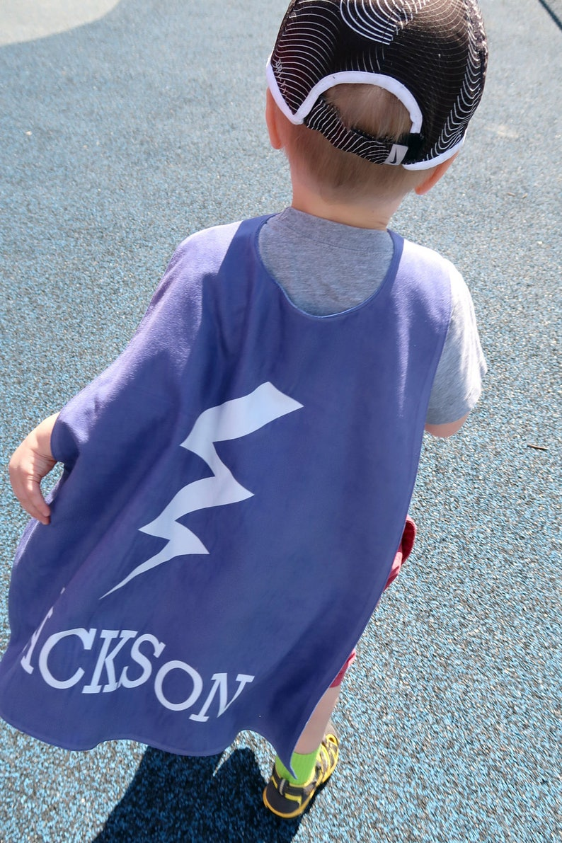 Navy Bolt Personalized Superhero Cape - - Boys Birthday - Gift for Kids -  Superhero party cape - Flash - Pretend Play