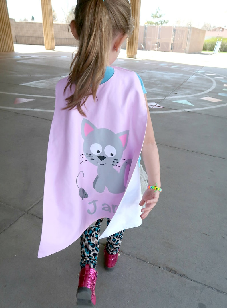 Cat Personalized Superhero Cape - Superhero Party Cape - Girls Birthday -  Dress Up - Pretend Play - Imaginary Play
