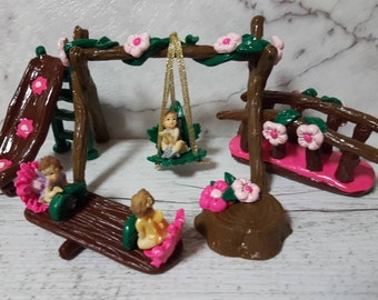Fairy Accessories:  Fairy Playground Set of 5 Pieces and  3 Micro Fairies