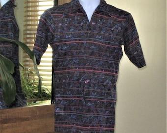 Curved Hem Deep Collar Points Van Heusen VanKnit Long VIntage 1970s Brown Polyester Short Sleeve Shirt Disco Shirt