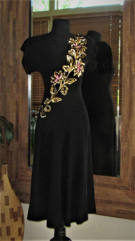 40s Sequin Black Crepe Dress, Fit and Flare, Semi-