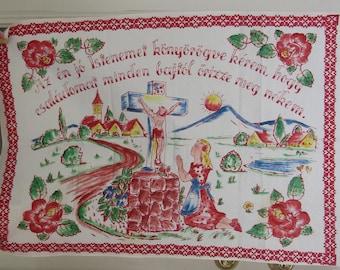 Vintage 60s Dish Towel, Hungarian Hand Painted Linen Dish Towel, Folk Art, Wall Hanging, Hungarian Language, Religious