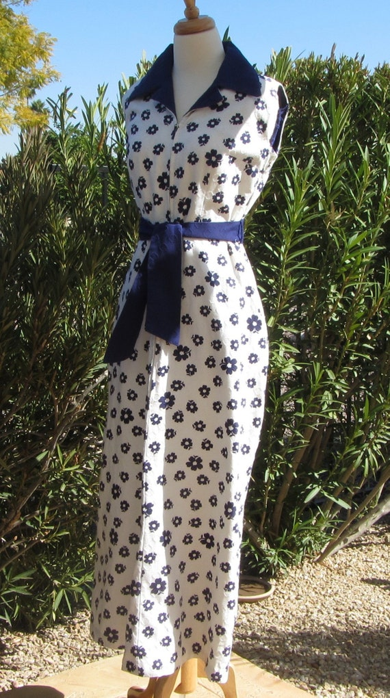 Full Length Textured Cotton Hostess Dress, White w