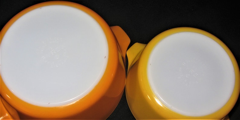 Pyrex Daisy Cinderella Orange and Yellow Casserole Set Vintage 60s \u2013 70s