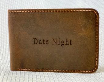 Vintage Stars /& Stripes Genuine Leather Money Clip Personalized