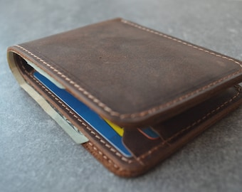 Personalized Bifold Leather, Slim Leather Wallet, Distressed Leather Wallet, Minimalist Leather Wallet, Unisex Wallet