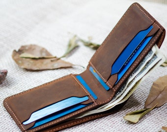 Slim Leather Wallet, Personalized Bifold Wallet, Handmade wallet for men, Fathers day gift