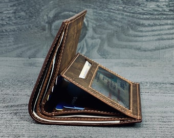 TRIFOLD MENS WALLET, Fathers Day Gift, Personalized Wallet Gift, Minimalist wallet, Leather Wallet Holds Lots of Money