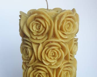 Gold Rose Pillar Candle