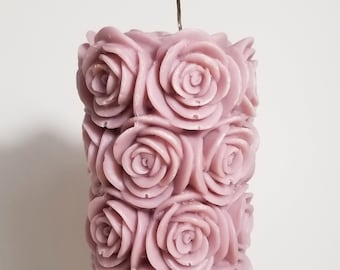 Dusty Pink Rose Pillar Candle