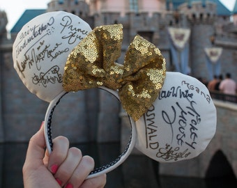 Autograph Minnie Mouse Ears, Disney Mouse Ears, Headband