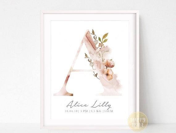 Nursery Print Present Baby Girl Gift Newborn PERSONALISED INITIAL PRINT
