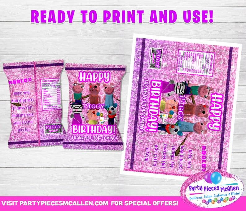 PRINTABLES Piggy Roblox Banner Piggy Roblox Tags Piggy Roblox Labels Digital Piggy Roblox Birthday Package Piggy Roblox Party Supplies
