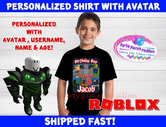 Roblox Birthday Shirt With Avatar Roblox Boy Birthday Shirt Etsy