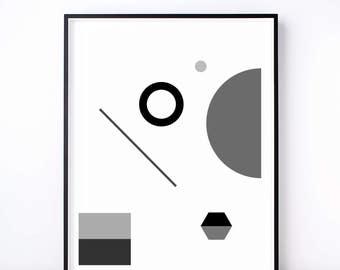 Fête No. 1 Geometric Print. Black and White Art. Geometric Art. Abstract Print. Monochrome Shape. Monochrome Nursery. Modern Wall Art.