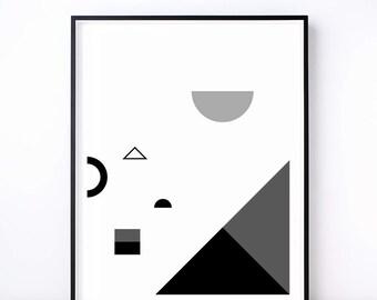 Fête No. 2 Geometric Print. Black and White Art. Geometric Art. Abstract Print. Monochrome Shape. Monochrome Nursery. Modern Wall Art.