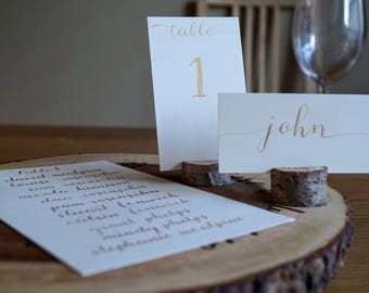 Custom Handwritten Calligraphy Dinner Arrangement, Table Numbers, Place Cards, Seating Cards