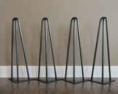 Hairpin Legs Set of 4, USA Made, RAW STEEL, Hairpin legs, Hairpin Table Legs, Mid Century Modern, Coffee Table,Furniture, Metal Legs