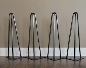 Hairpin Legs Set of 4, USA Made, RAW STEEL, Hairpin legs, Hairpin Table Legs, Mid Century Modern, Coffee Table,Furniture, Metal Legs